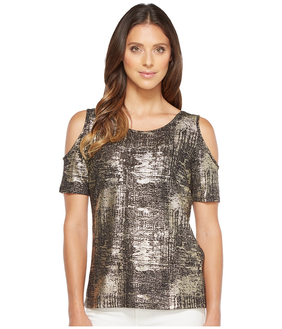 Calvin Klein - Foiled Metallic Cold Shoulder Top (Black) Women's Clothing