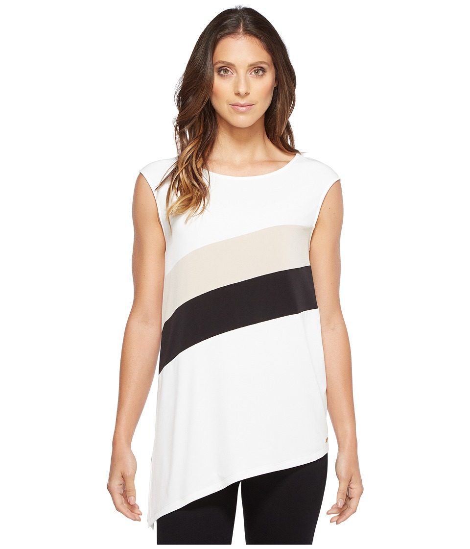 Calvin Klein - Sleeveless Angle Bottom Top with Stripe (Soft White) Women's Clothing