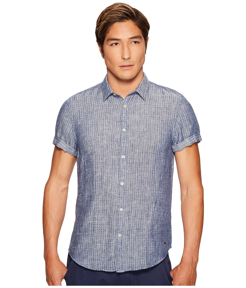Scotch & Soda - Short Sleeve Shirt in Structured Linen Quality (Denim Blue Melange) Men's Clothing