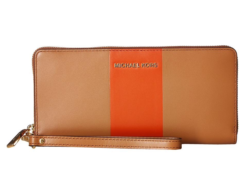 MICHAEL Michael Kors - Center Stripe Jet Set Travel Continental (Acorn/Orange) Handbags