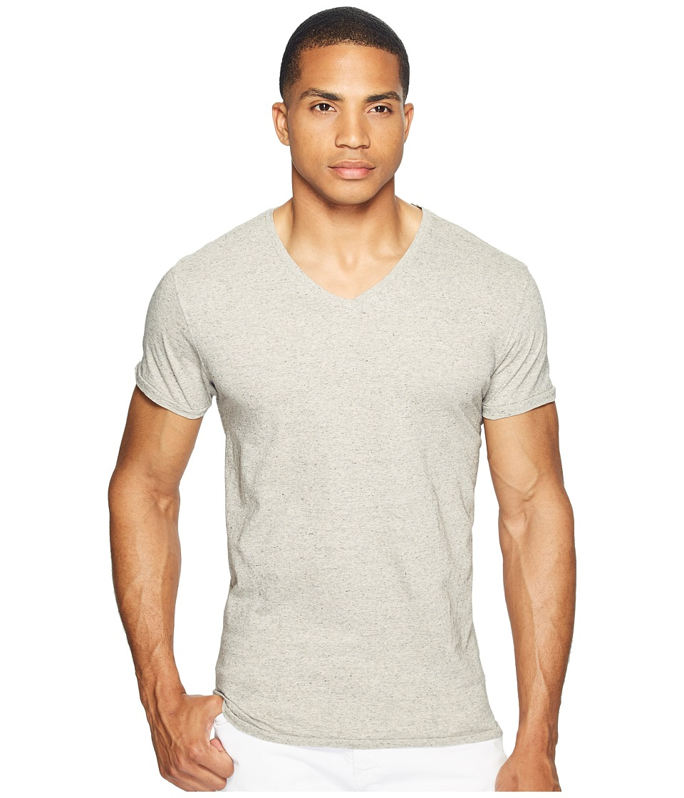 Scotch & Soda - V-Neck Tee in Jersey Melange Quality with Neps (Grey Melange) Men's T Shirt
