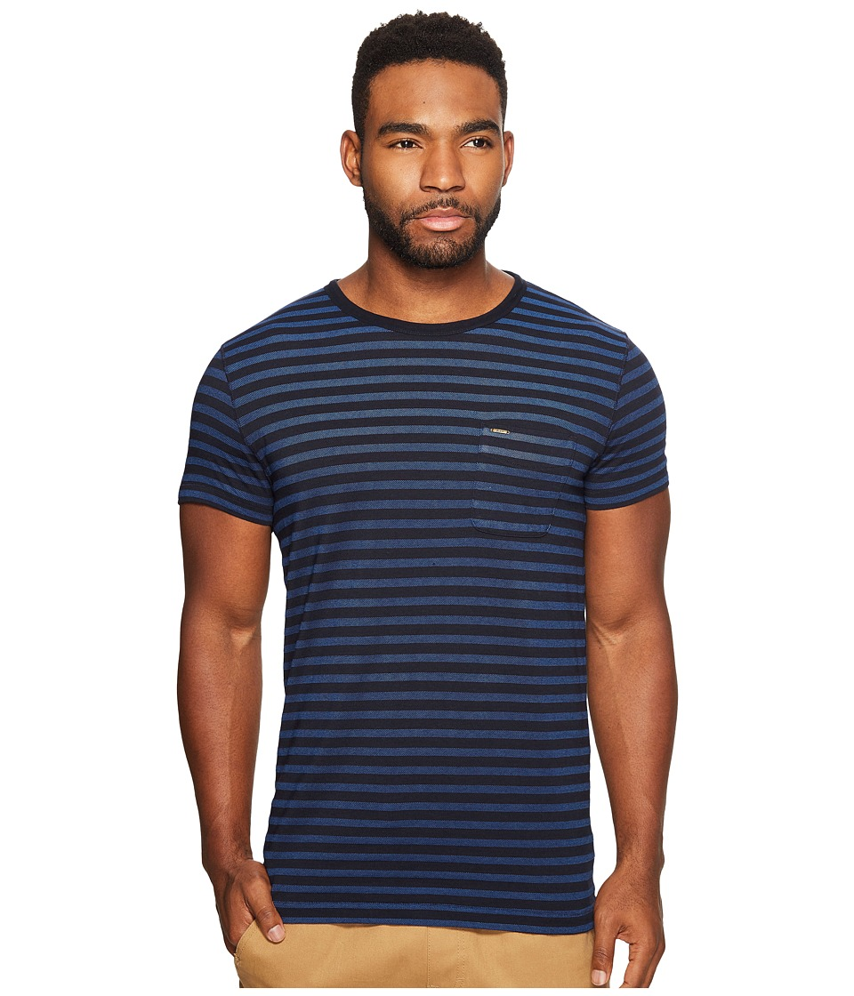 Scotch & Soda - Short Sleeve Tee in Lightweight Jersey Quality with Pique Stripe (Combo B) Men's T Shirt
