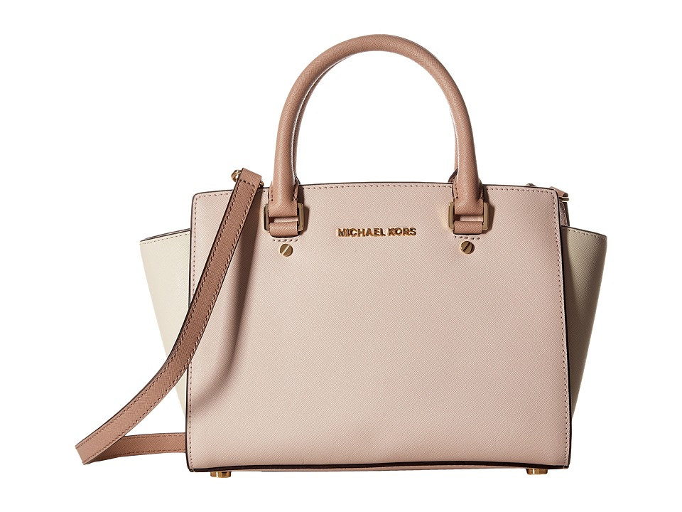 MICHAEL Michael Kors - Selma Medium Top-Zip Satchel (Soft Pink/Ecru/Fawn) Satchel Handbags