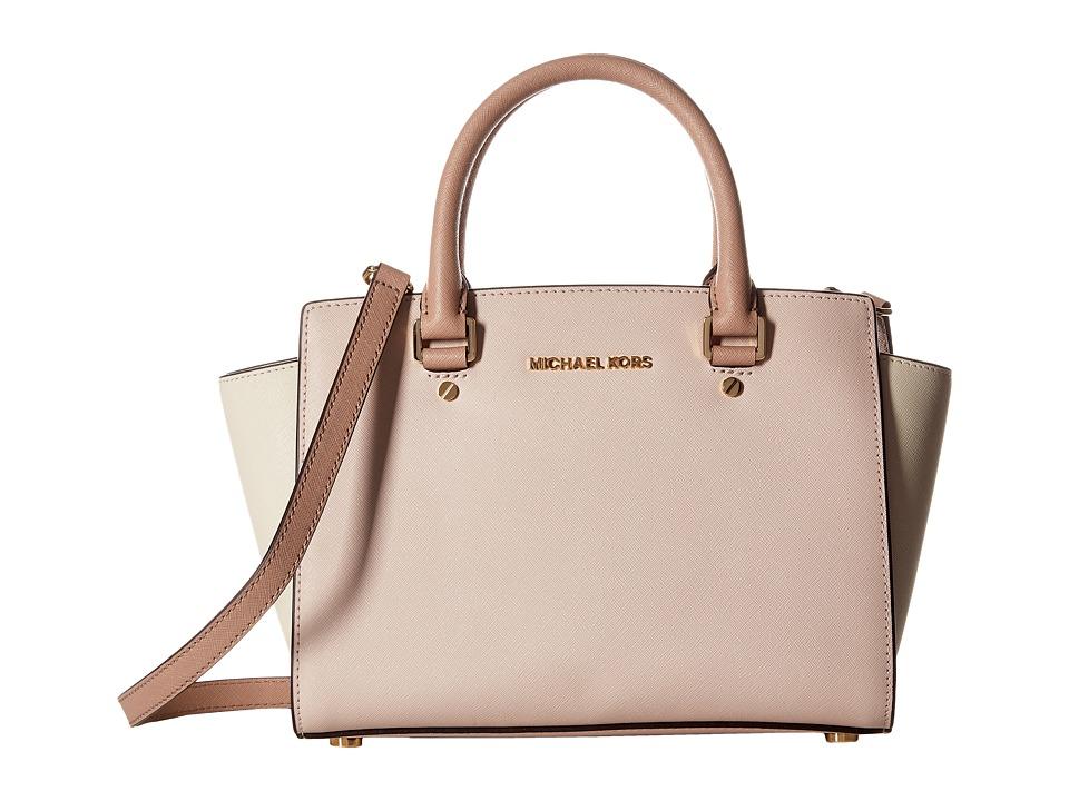 MICHAEL Michael Kors - Selma Medium Top-Zip Satchel (Soft Pink/Ecru/Fawn) Satchel Handbags