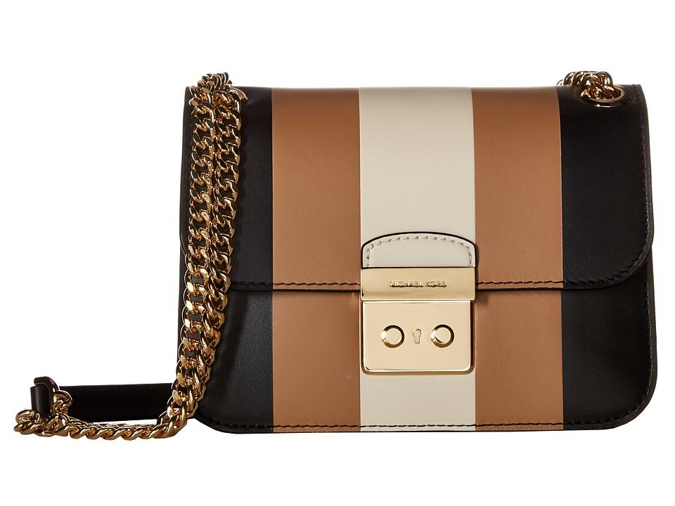 MICHAEL Michael Kors - Multi Stripe Sloan Editor Medium Chain Shoulder (Black/Ecru/Cashew) Shoulder Handbags