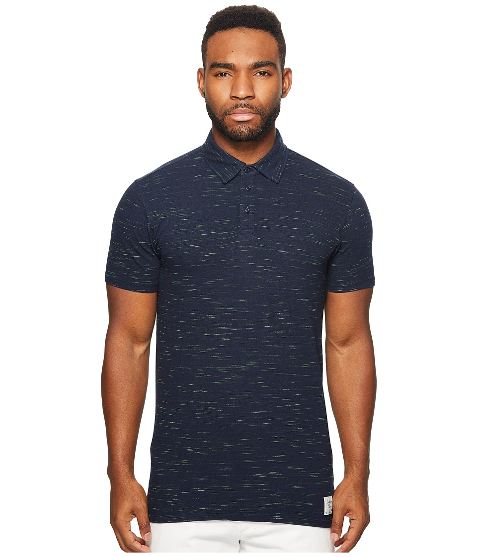 Scotch & Soda - Polo in Melange Pique Quality with Subtle Damagings (Navy Melange) Men's Clothing