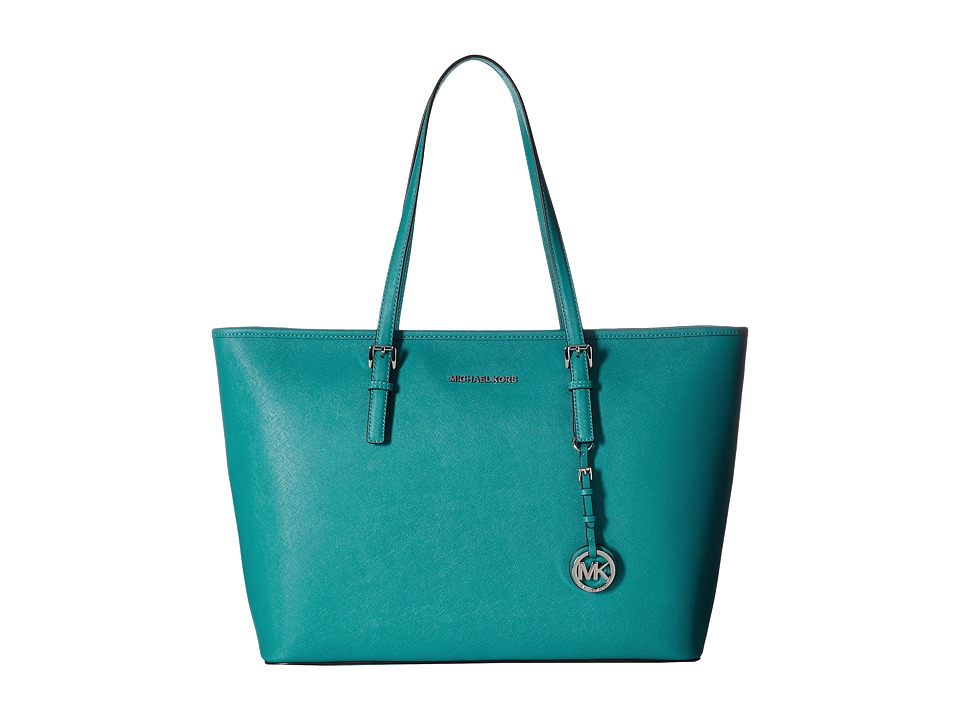 MICHAEL Michael Kors - Jet Set Travel Medium Top Zip Mult Funt Tote (Peacock) Tote Handbags