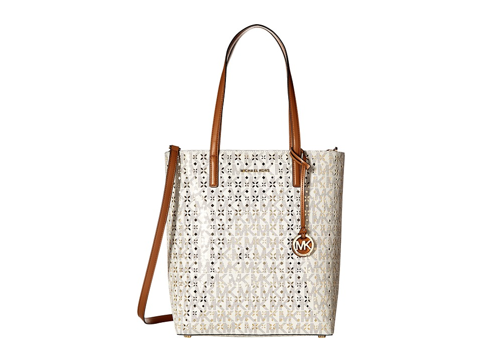 MICHAEL Michael Kors - Hayley Large North/South Top Zip Tote (Vanilla) Tote Handbags