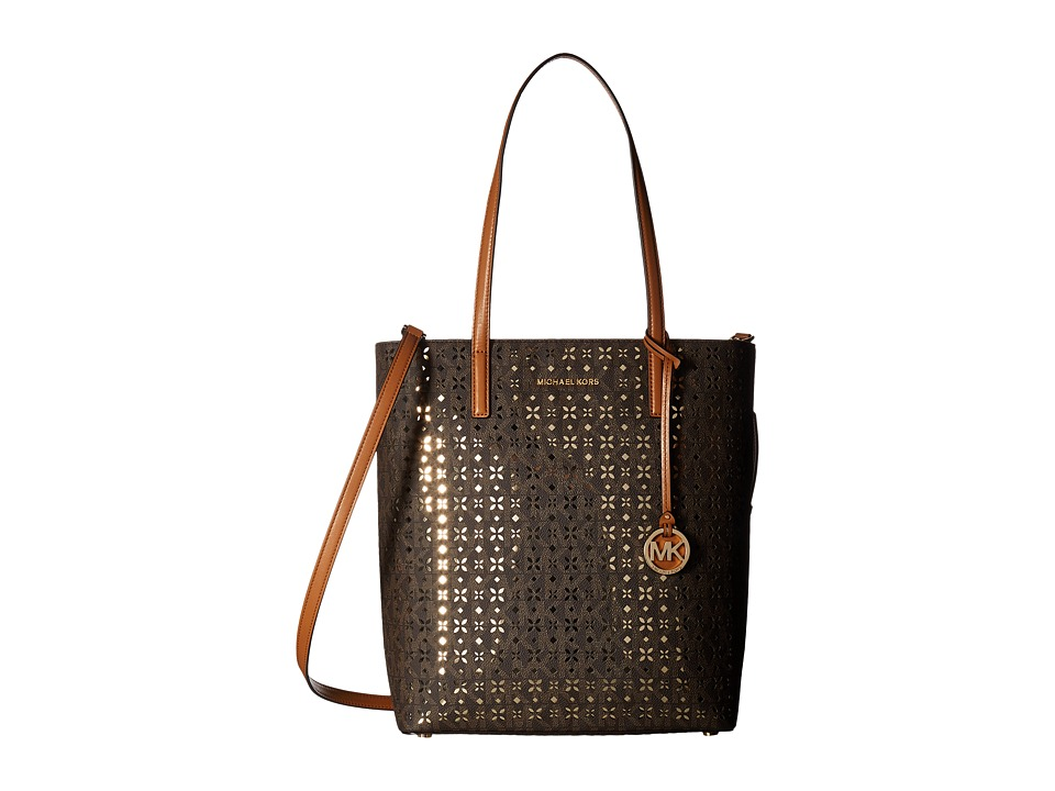 MICHAEL Michael Kors - Hayley Large North/South Top Zip Tote (Brown) Tote Handbags