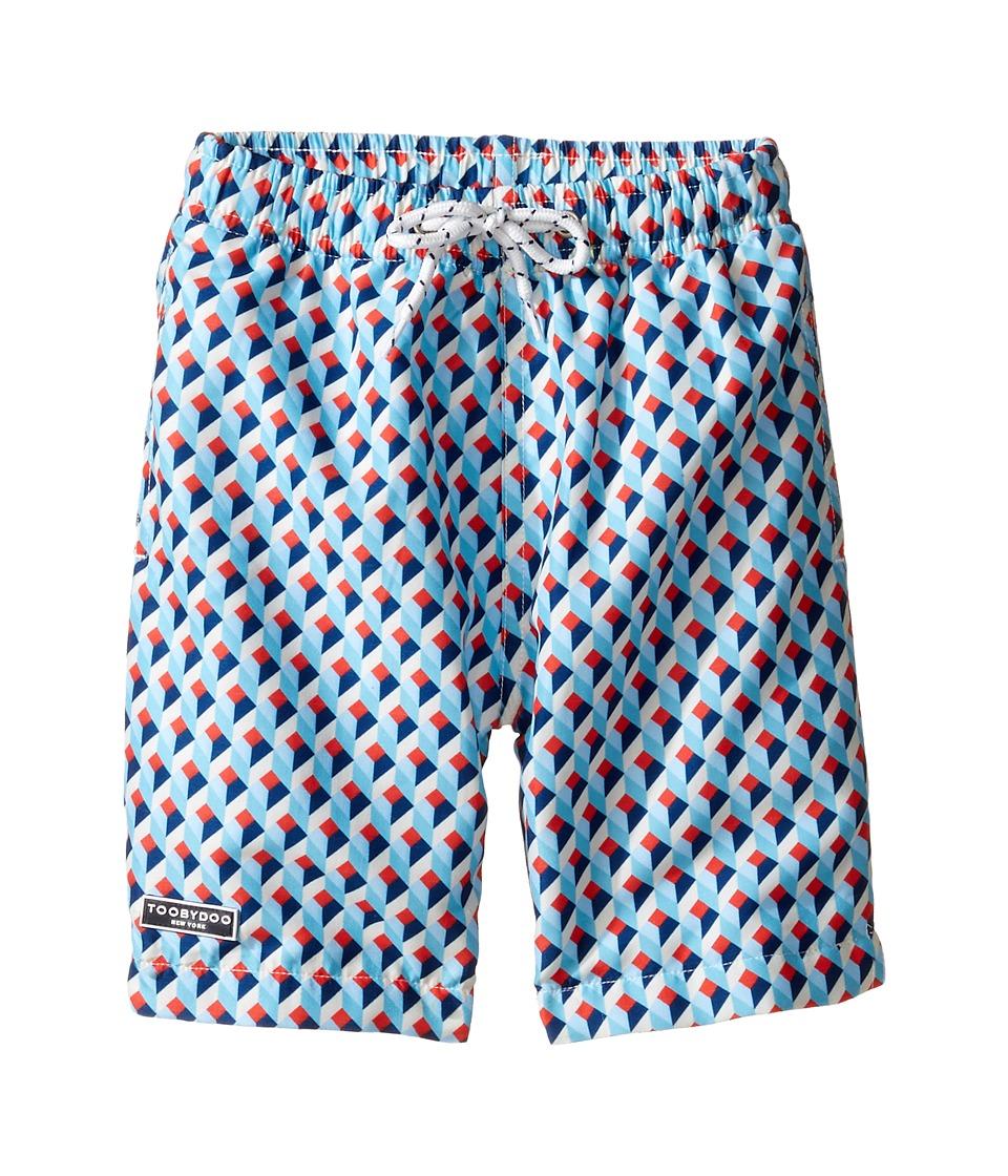 Toobydoo - Escher Swim Shorts (Infant/Toddler/Little Kids/Big Kids) (Blue/Red/White) Boy's Swimwear