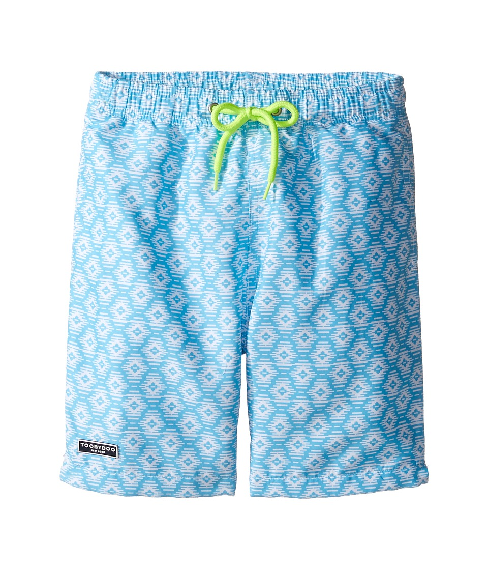 Toobydoo - Ikat Aqua Swim Shorts (Infant/Toddler/Little Kids/Big Kids) (Aqua/White) Boy's Swimwear