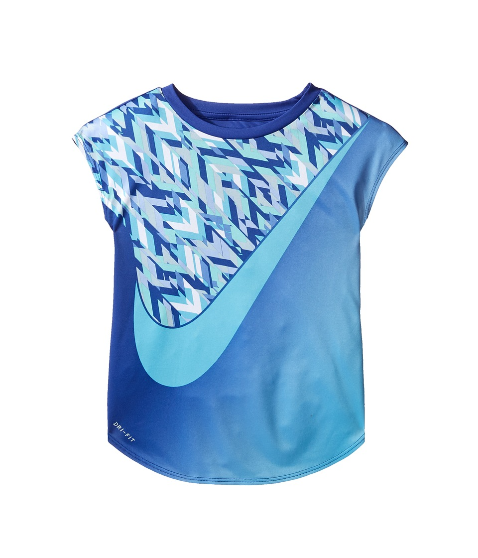 Nike Kids - Swoosh Blocking Dri-Fit Short Sleeve Tee (Little Kids) (Comet Blue) Girl's T Shirt