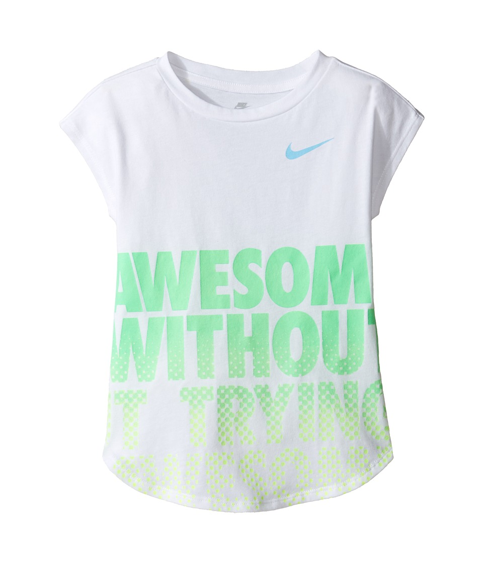 Nike Kids - Awesome Without Trying Modern Short Sleeve Tee (Little Kids) (White) Girl's T Shirt