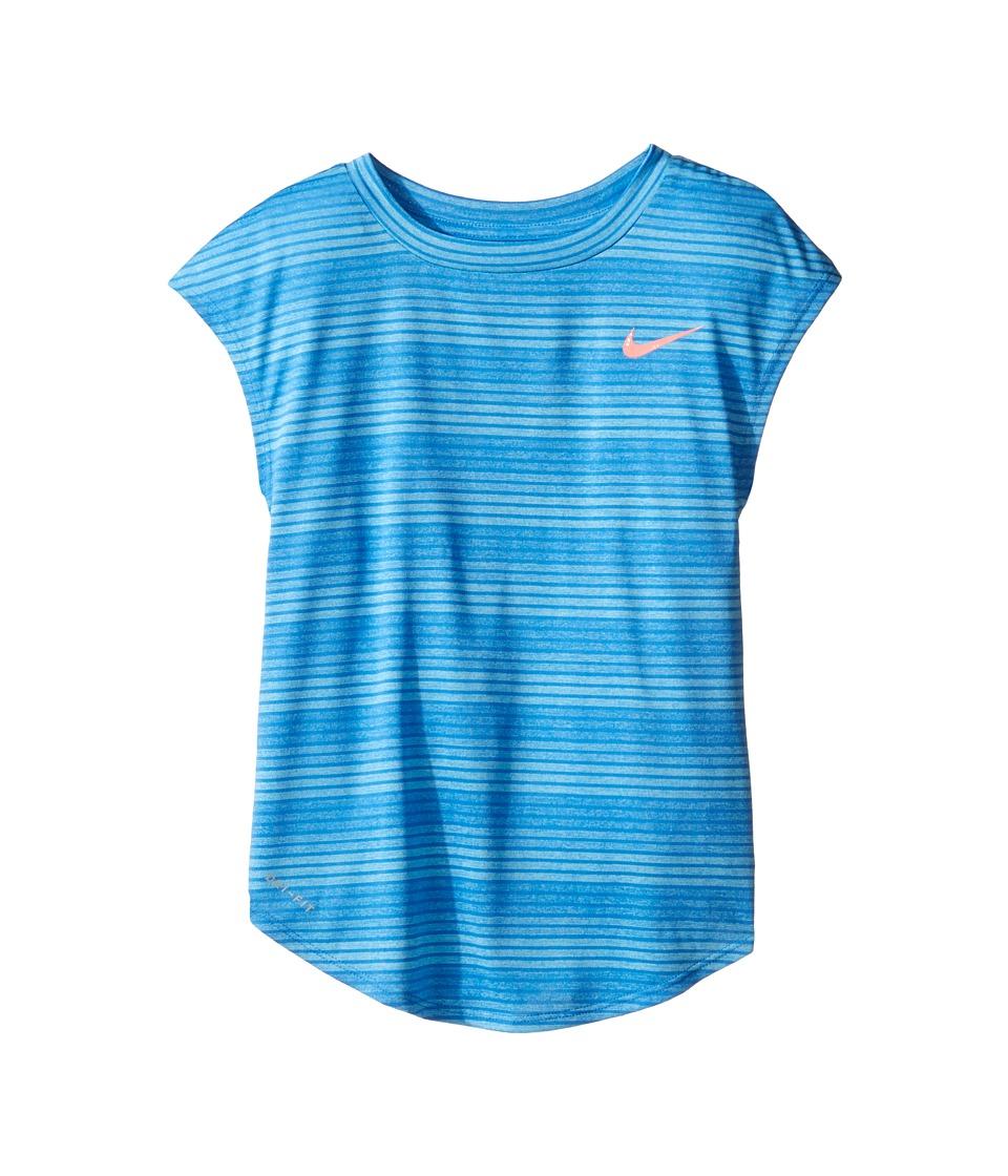Nike Kids - Stripe Heather Gradient Dri-FIT Tee (Little Kids) (Comet Blue) Girl's T Shirt