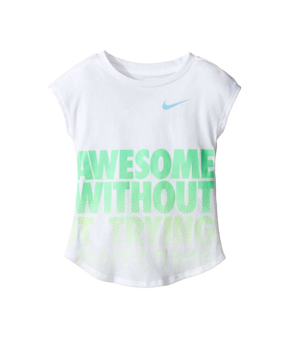 Nike Kids - Awesome Without Trying Modern Short Sleeve Tee (Toddler) (White) Girl's T Shirt