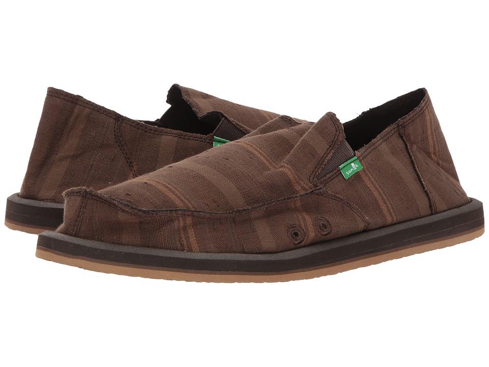 Sanuk - Donny (Dark Brown Vintage Denim Stripe) Men's Slip on  Shoes