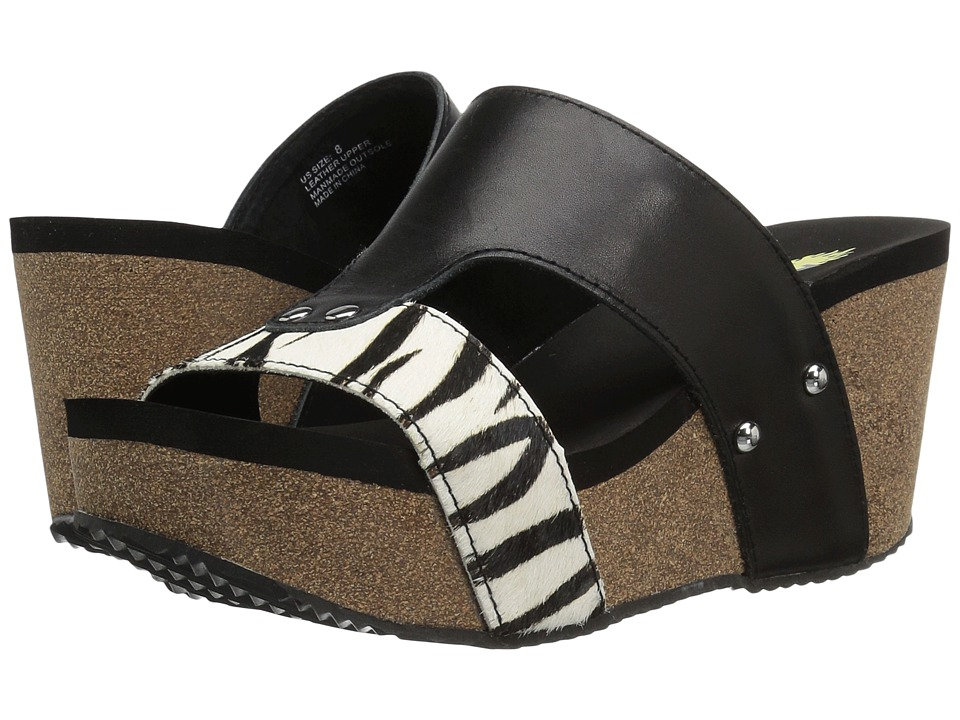 VOLATILE - Charlee (Black/White/Zebra) Women's Sandals