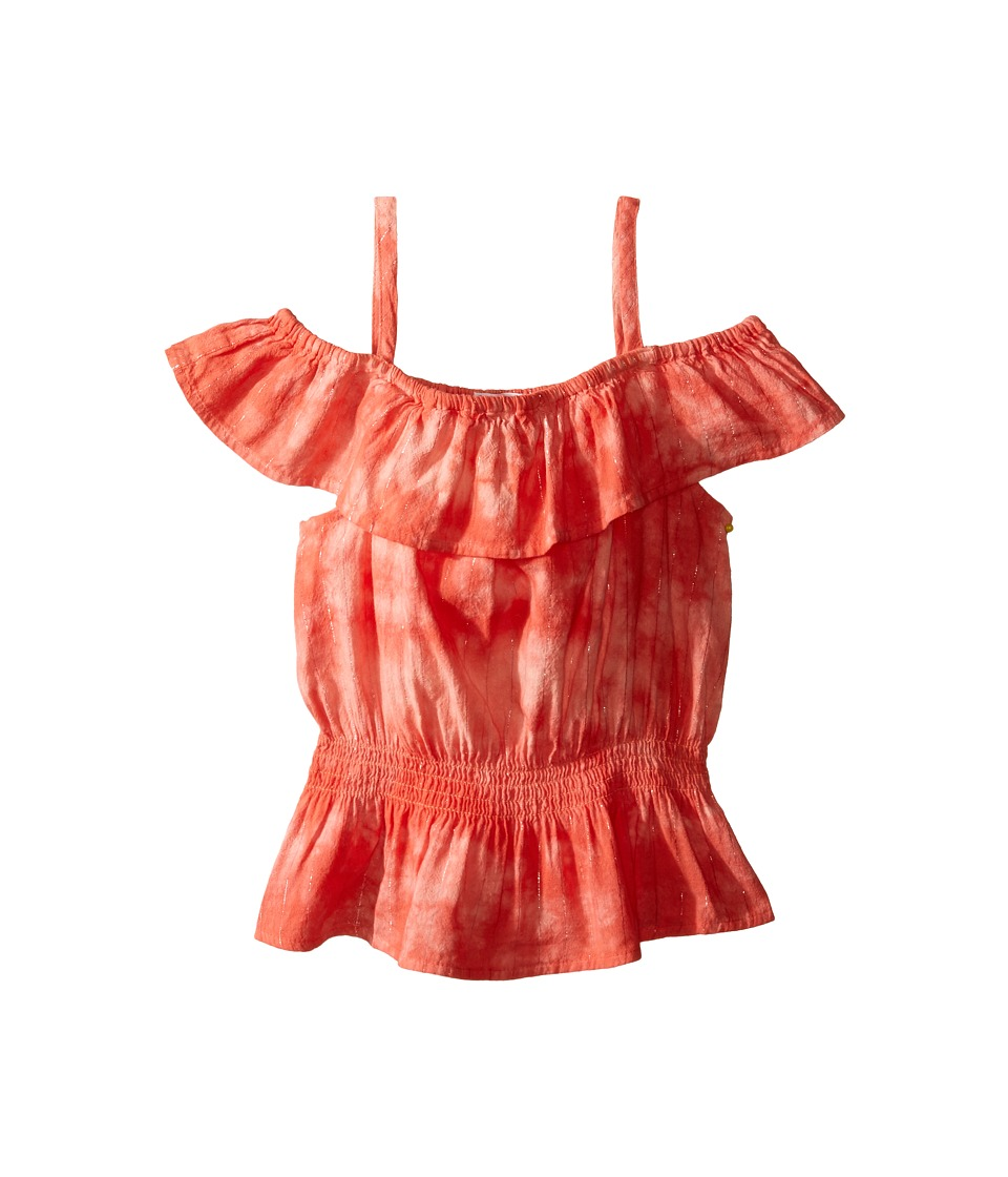 Splendid Littles - Tie-Dye Off the Shoulder Top (Big Kids) (Orange) Girl's Clothing