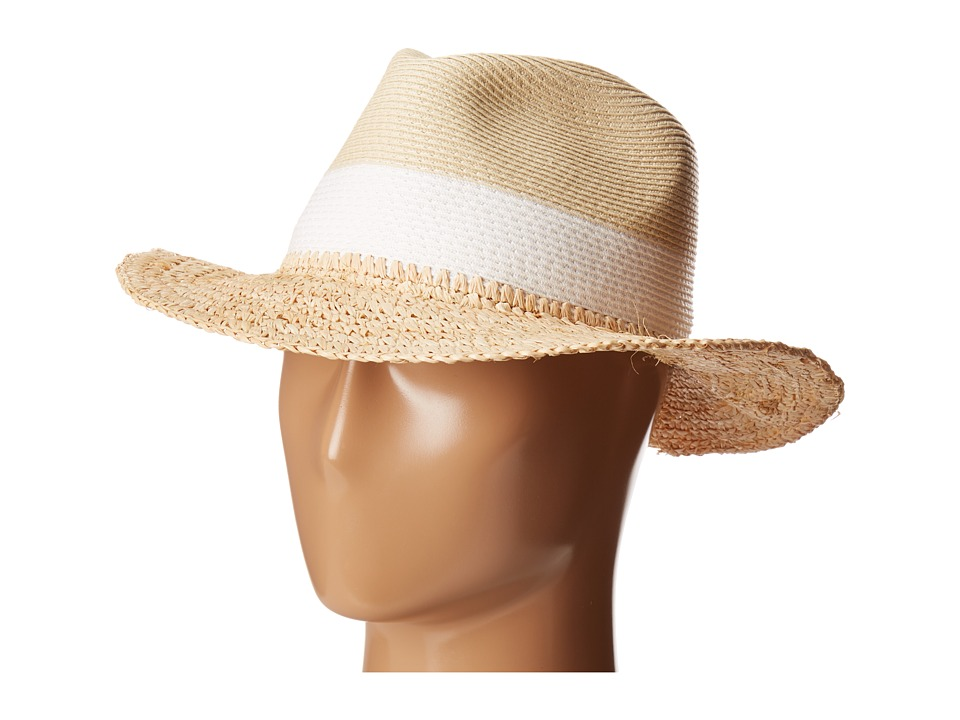 Echo Design - Color Block Panama Beach Hat (White) Caps