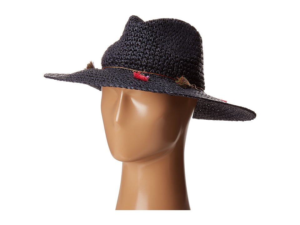 Echo Design - Jewelry Tassel Panama Beach Hat (Navy) Caps