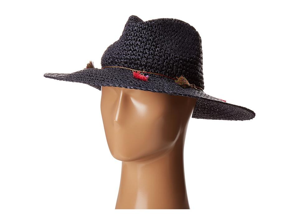 Echo Design - Jewelry Tassel Panama Beach Hat (Navy) Caps