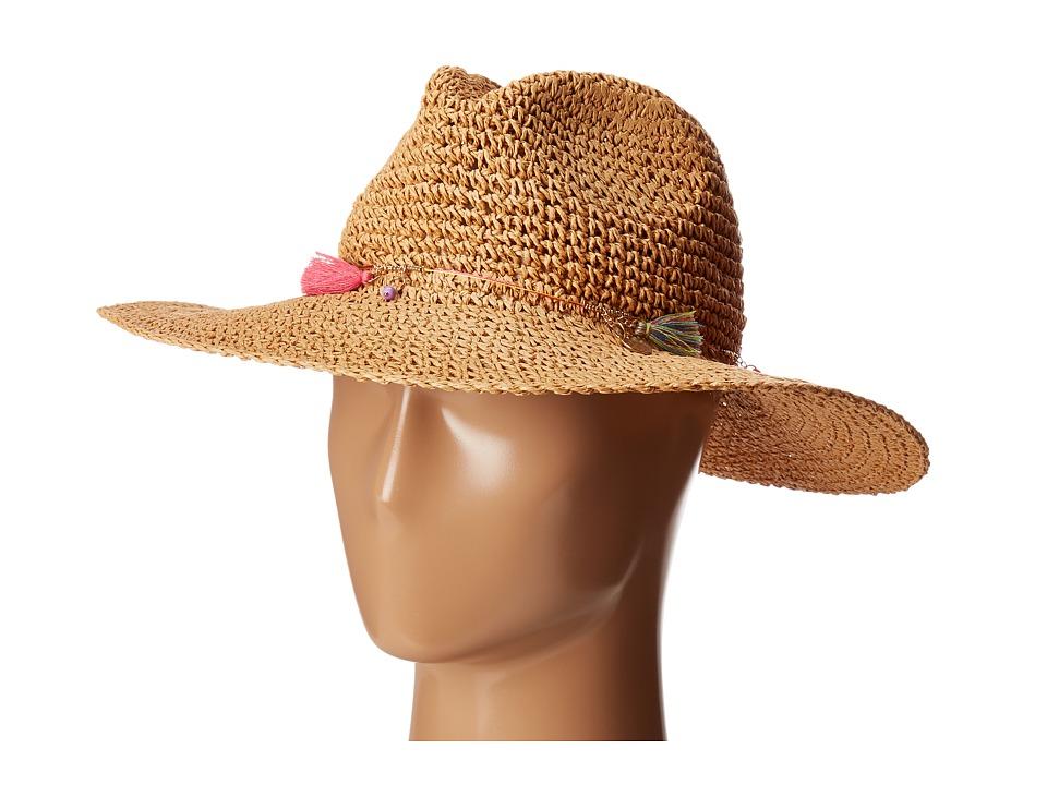 Echo Design - Jewelry Tassel Panama Beach Hat (Natural) Caps