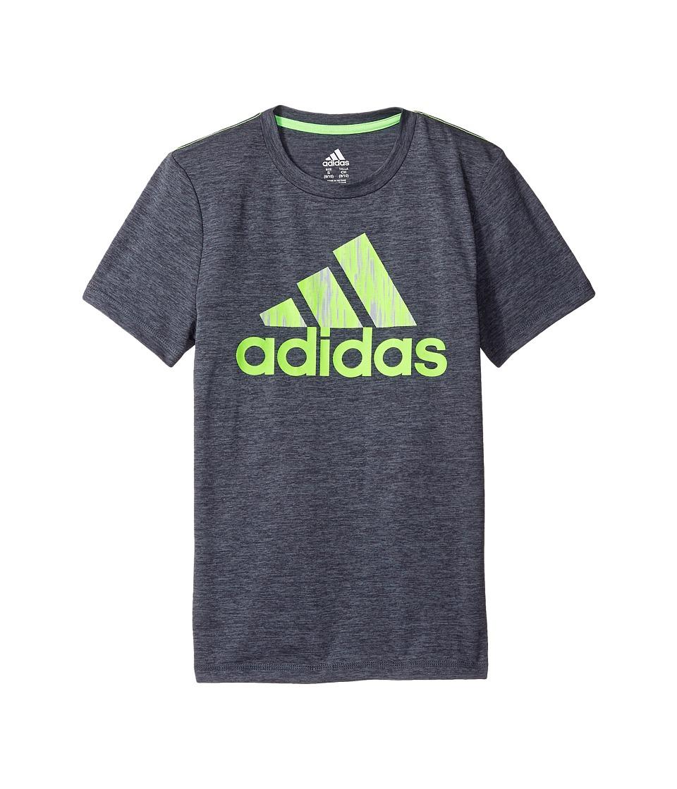 adidas Kids - Print Logo Tee (Toddler/Little Kids) (Grey/Green) Boy's T Shirt