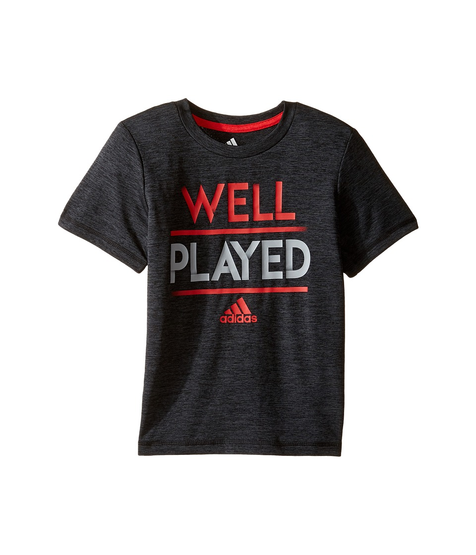 adidas Kids - Well Played Tee (Toddler/Little Kids) (Black Heather) Boy's T Shirt