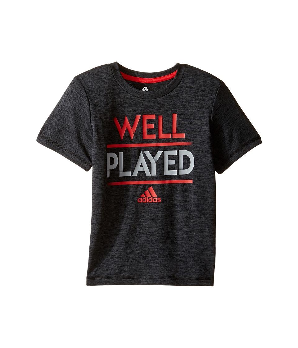 adidas Kids - Well Played Tee (Toddler/Little Kids) (Black Heather) Boy's T Shirt