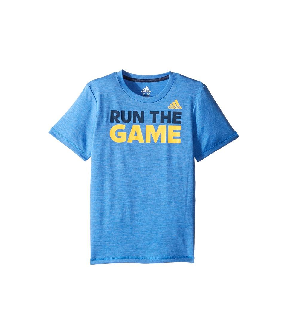 adidas Kids - Run The Game Tee (Toddler/Little Kids) (Medium Blue) Boy's T Shirt