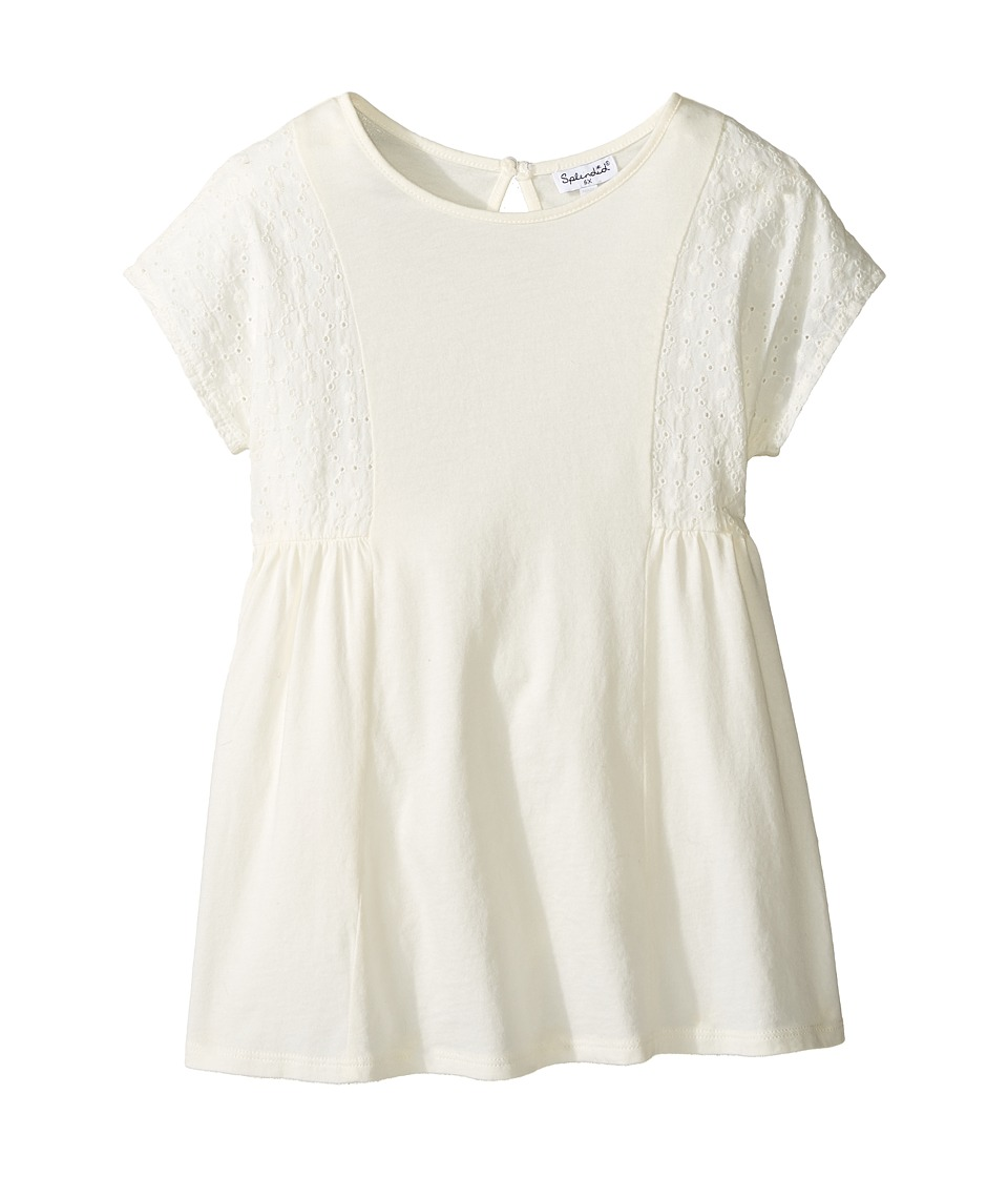 Splendid Littles - Short Sleeve Eyelet Knit Top (Little Kids) (White) Girl's Clothing