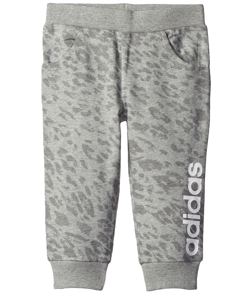 adidas Kids - 7/8 Length Printed Jogger (Toddler/Little Kids) (Grey) Girl's Casual Pants