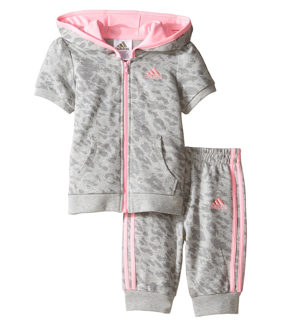 adidas Kids - Cheetah Capris Jogger Set (Infant) (Grey) Girl's Active Sets