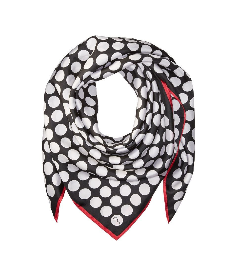Echo Design - Polka Dot Silk Square Scarf (Black) Scarves