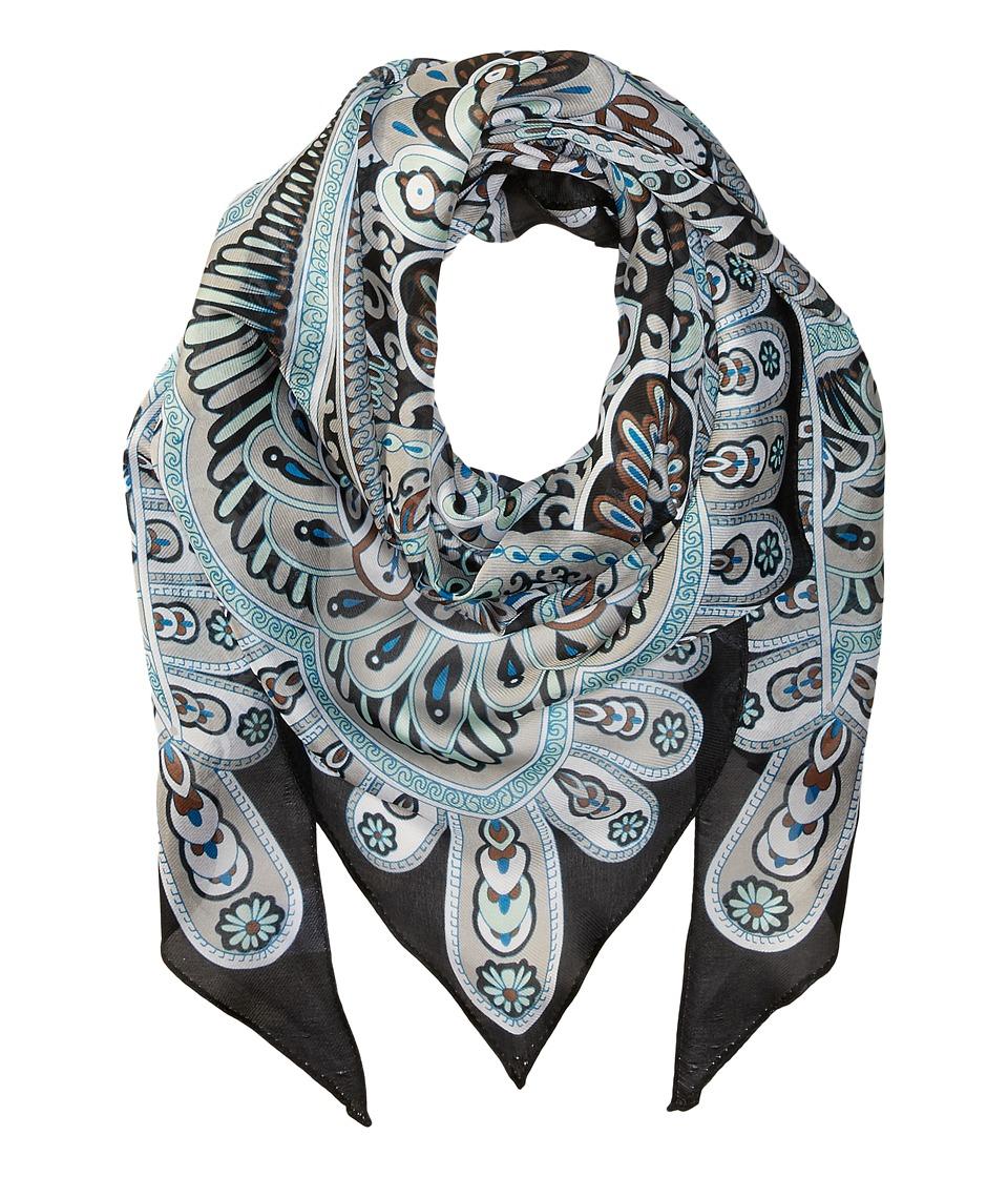 Echo Design - Baracoa Silk Triangle Scarf (Black) Scarves