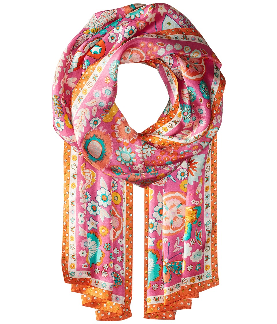 Echo Design - Butterfly Silk Oblong Scarf (Hibiscus Pink) Scarves