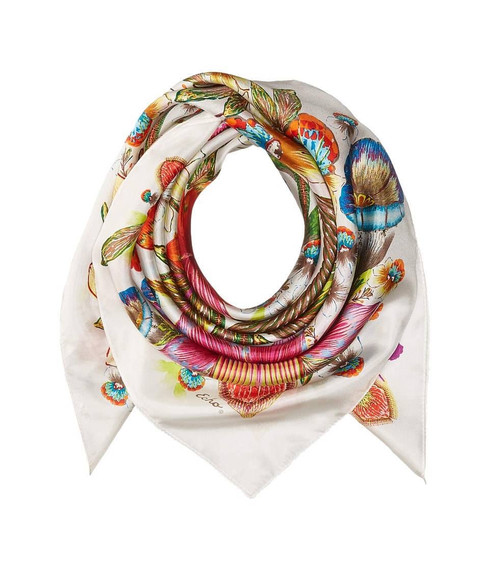 Echo Design - Flora Floral Silk Square Scarf (White) Scarves