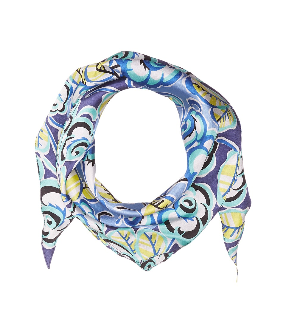 Echo Design - Sketchy Floral Silk Diamond Scarf (Havana Blue) Scarves