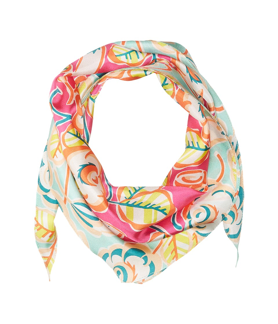 Echo Design - Sketchy Floral Silk Diamond Scarf (Hot Pink) Scarves