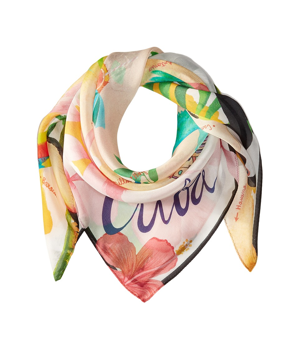 Echo Design - Mapa De Cuba Silk Square Scarf (White) Scarves