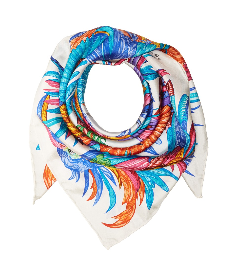 Echo Design - Pajaros Coloridos Silk Square Scarf (White) Scarves