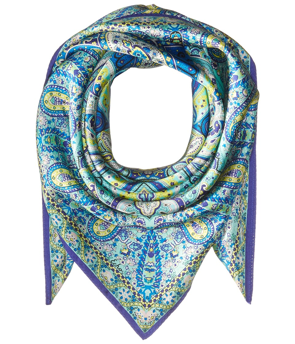 Echo Design - Paisley Silk Square Scarf (Navy) Scarves