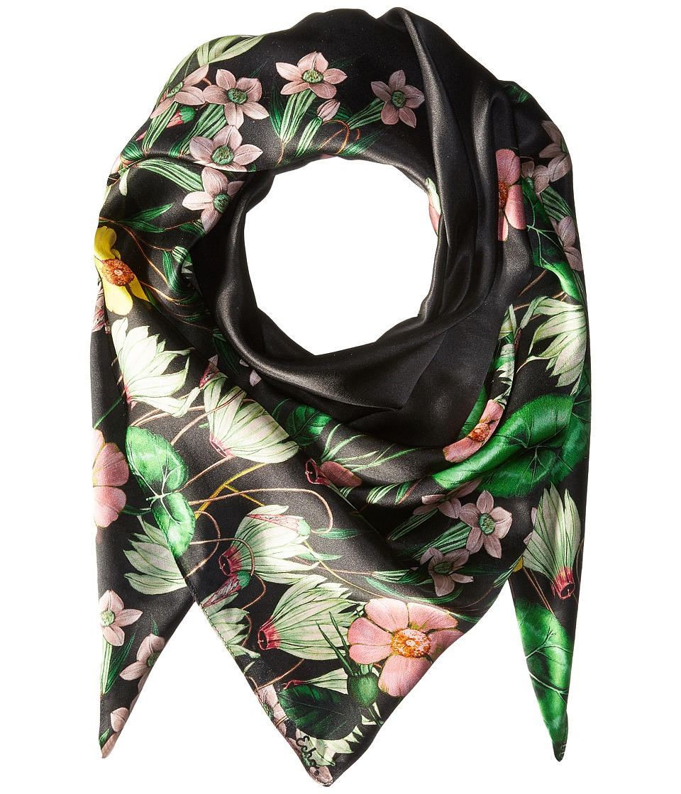 Echo Design - Garden Party Silk Square Scarf (Black) Scarves