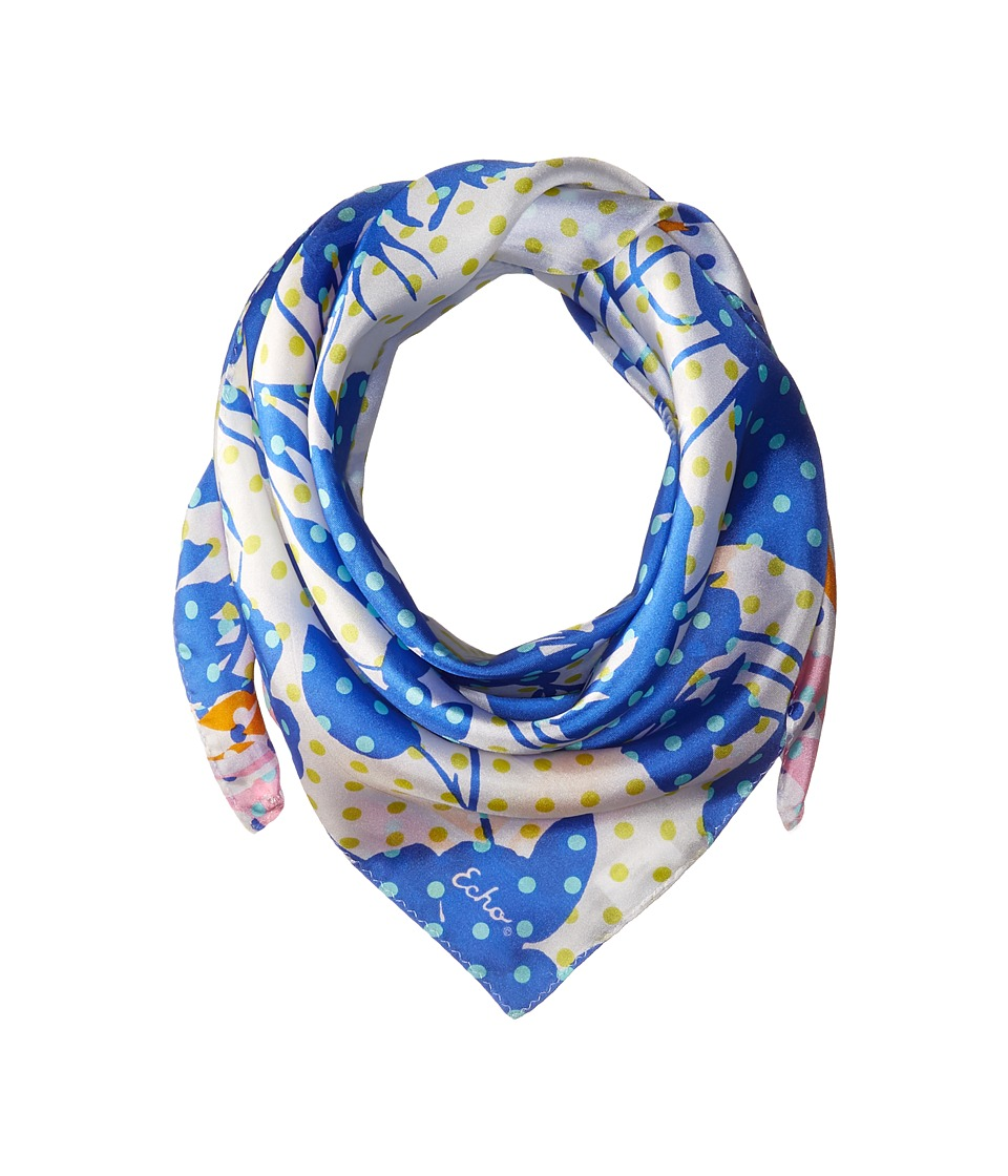 Echo Design - Dots on Dots Silk Square Scarf (White Multi) Scarves