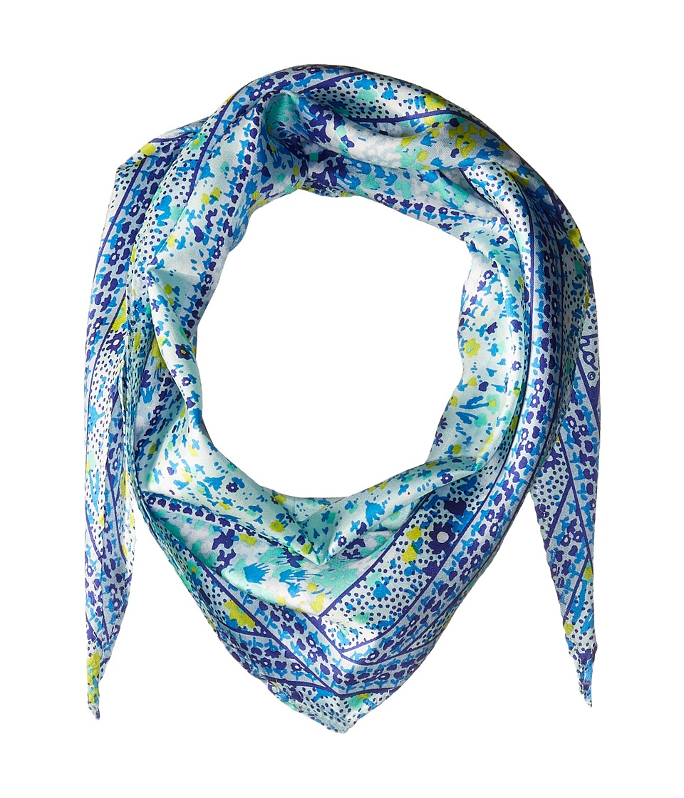 Echo Design - Ditzy Patchwork Silk Diamond Scarf (Brilliant Blue) Scarves