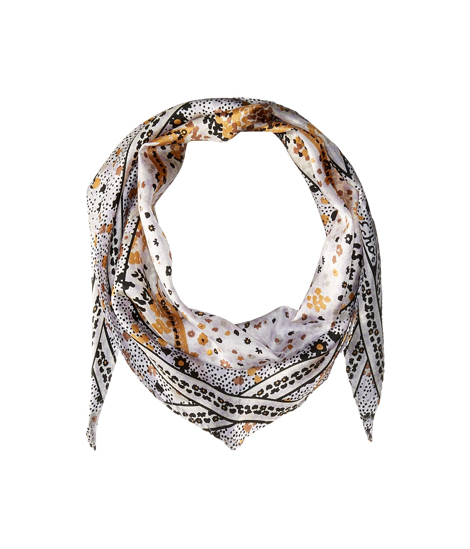 Echo Design - Ditzy Patchwork Silk Diamond Scarf (White) Scarves