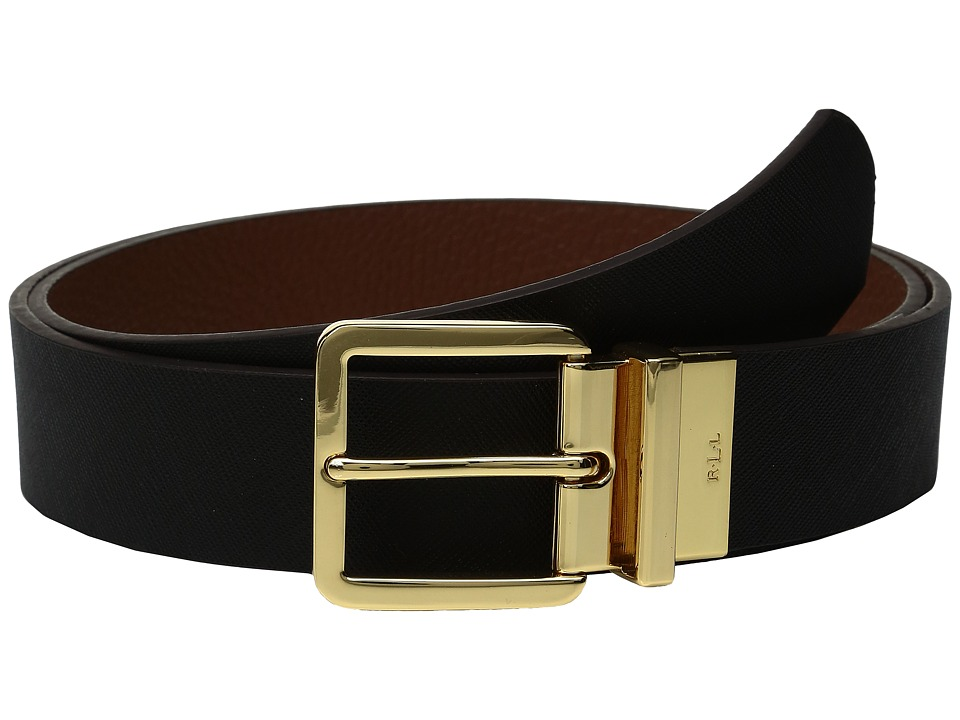 LAUREN Ralph Lauren - Reversible Crosshatch Belt (Black) Women's Belts
