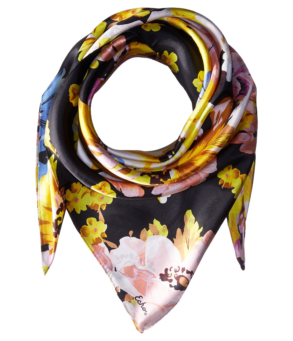 Echo Design - Floral Silk Square Scarf (Black) Scarves