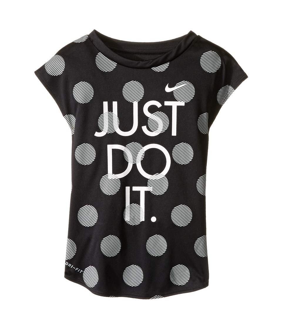 Nike Kids - Polka Dot Just Do It Dri-Fit A-Line Tee (Little Kids) (Black) Girl's T Shirt