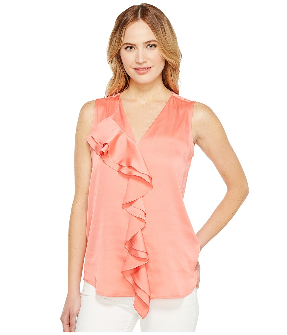 Calvin Klein - Sleeveless Top with Ruffle Front Blouse (Porcelain Rose) Women's Clothing